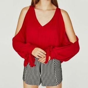 Zara V- Neck open shoulder blouse